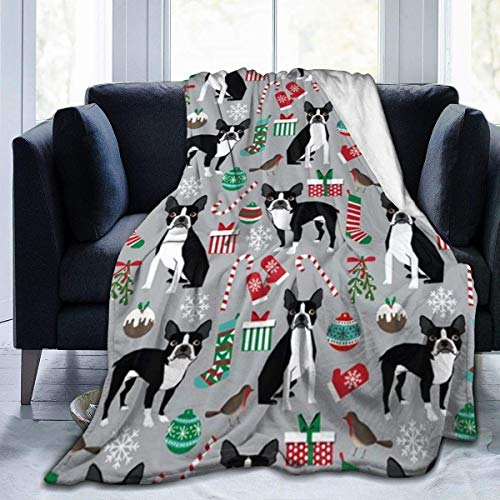 Cubierta De Cama,Mantas De Cama,Boston Terrier Christmas Holiday Fleece Blanket All Season Lightweight Premium Flannel Fur Microfiber Cosy Warm and Easy Care For Office