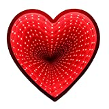 JEYKAY 3D Creative Novelty Stars Cloud Tunnel Lamps Infinity Mirror Light LED (Red Heart)
