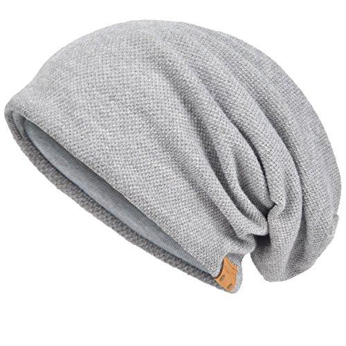 VECRY Herren Baumwolle Mütze Strickmützen Slouch Beanie Schädel Cap Winter Sommer Hüte (Blass)