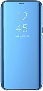 AIsoar Compatible/Replacement fit Xiaomi Redmi Note 7 Case Mirror Smart Clear View Window Flip Case Cover Slim Multi-Function Mirror S-View Stand flip Folio Full Body Protection Case (Blue)