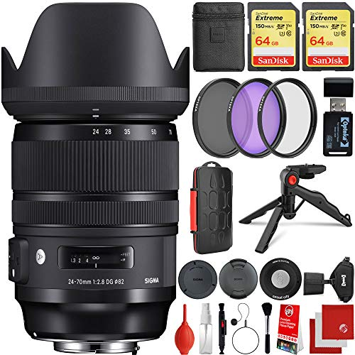 Sigma 24-70mm f/2.8 DG DN Art Lens Sony E-Mount Bundle, 2X 64GB Memory Cards, IR Remote, 3 Piece Filter Kit, Wrist Strap, Card Reader, Memory Card Case, Tabletop Tripod