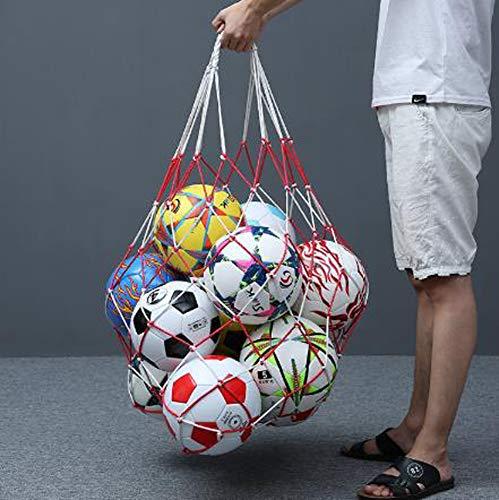 DUCHEN - Bolsa de red de entrenamiento para balones de fútbol, bolsa de almacenamiento extra grande, bolsa de almacenamiento de malla para baloncesto, gimnasio, voleibol, bolsa multideporte y rugby, Unisex adulto, A. Rojo