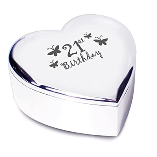 21st Birthday With Butterflies Silver Finish Heart Shaped Trinket Box