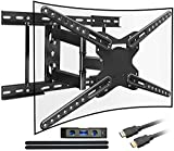 Everstone TV Wall Motion Full Motion Swivel Bracket,Fit 28-70 inch LCD LED Curved TVs,16' 18' 24' Studs,Articulating Dual Arm,Up to 600x400mm and 110lbs,HDMI Cable