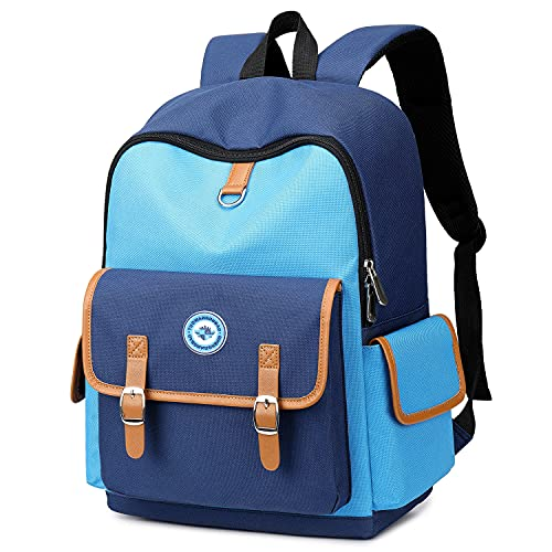 Kids Backpack Lightweight Children Bookbag Water Resistant Toddler Backpack Preschool Kindergarten Elementary School Bag for Girls Boys (Blue, 16 Inch)