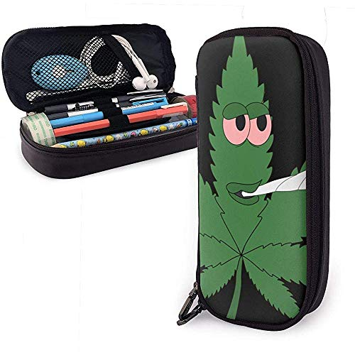 Dibujos animados Smoking Weed PU Estuche de cuero para lápices, Bolso para bolígrafos de gran capacidad, Organizadores de papelería duraderos Cremallera doble 4cm x 9cm x 20cm