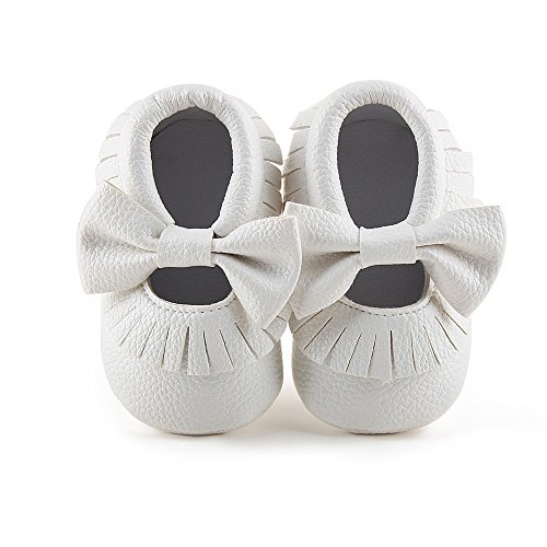 Delebao Infant Toddler Baby Soft Sole Tassel Bowknot Moccasinss Crib Shoes (6-12 Months, White)