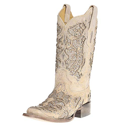 Corral Boots Company Womens Ladies Glitter/Crystals Square Toe Cowgirl Boots 7.5 B(M) US White
