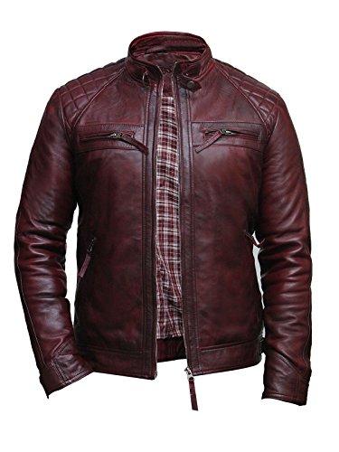 BRANDSLOCK Mens Leather Jacket Genuine Lamb Skin Motorbike