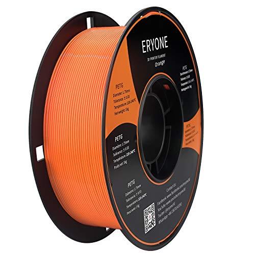 Filamento ERYONE PETG per stampante 3D, 1,75 mm, tolleranza: ± 0,03 mm, 1 kg (2,2 libbre)/bobina, Arancione