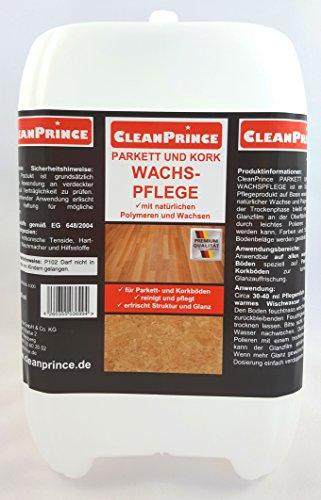 CleanPrince 5 Liter Parkett- und Kork Wachspflege & Reinigungsmittel Parkettwachs Korkwachs Pflegewachs Reinigung Pflegemittel wasserlösliche Wachse Polymere Korkböden Treppen Wax Fresh Glow flüssig