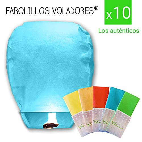 FAROLILLOS VOLADORES Colores Variados. Pack 10 Unidades.