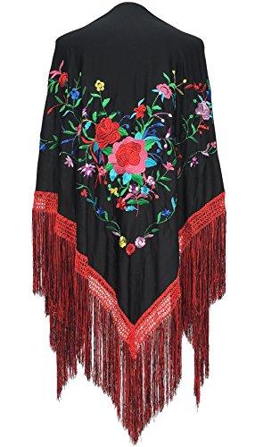 La Señorita Spanischer Manton/Tuch schwarz mit Blumen-Franzen rot schwarz Größe L