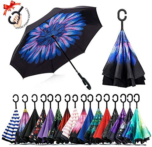 Simxen 210PG with Teflon Coating Double Layer Inverted Reverse Windproof Folding Windproof UV Protection Big Straight Multicolour Umbrella with C-Shaped Handle