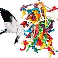 KISSFRIDAY ペット用品 鳥用品 インコ オウム おもちゃ 止まり木 噛む玩具 吊り下げ ストレス解消 木製 マルチカラー