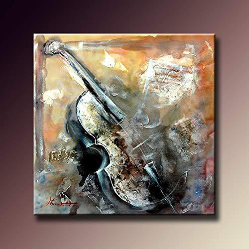 Olieverfschilderij handgeschilderd op canvas, overzicht landschap schilderijen vintage viool, moderne kunstwerken voor creatieve muren voor kinder- woonkamer slaapkamer volwassenen 70 x 70 cm
