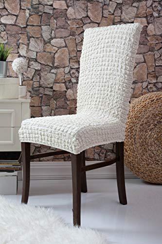 Mixibaby Fiora Stretch Stuhlhusse Stuhlbezug Elastische Husse Dekoration Stuhl Husse aus Elastik-Stoff für universelle Passform, Farbe:Eierschale