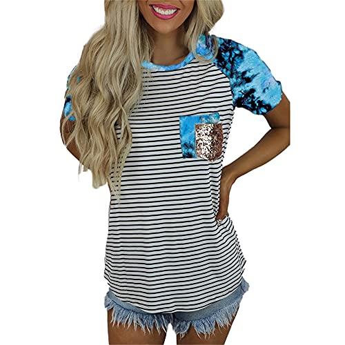 Elesoon Camiseta de verano para mujer de manga corta con estampado de leopardo con rayas de lentejuelas y cuello en O, A-azul, 44