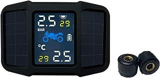 mewmewcat Sistema de monitoramento da pressão dos pneus TPMS Energia solar com 2 sensores externos Temperatura da pressão ...