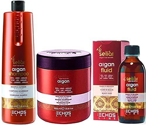 ECHOSLINE SELIAR ARGAN Shampoo(1000ml) + Maschera(1000ml) + Fluido(150ml) Trattamento idratante a base di olio di argan, per capelli secchi e...