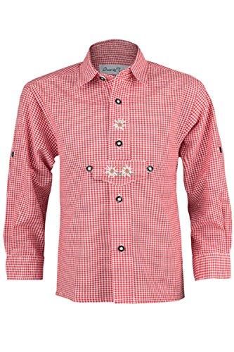 Isar-Trachten Jungen Trachten Kinderhemd rot, rot, 104