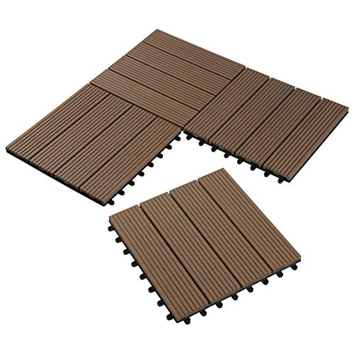 22er Set WPC Holz Fliese Terrassenfliesen klicksystem 30x30cm für Terrasse und Balkon Bodenfliese Klickfliese Bodenbelag 1m² Braun in Holzoptik