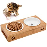 Legendog Gamelle Ceramique Chat, Gamelle Chat Bambou | Gamelle Anti Glouton Chats |...