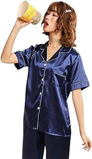 9b8f6f07dd65 GOWE Pijama Mujer Verano Corto - 2 Piezas Manga Corto Pantalones Suave  Suelto Raso Camisón de