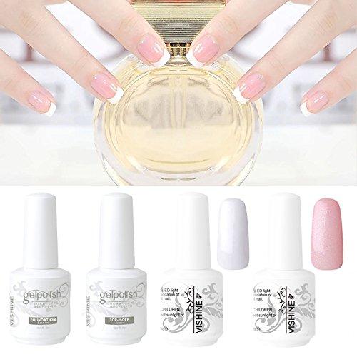 Vishine French Manucure Kit Vernis à ongles Semi-permanent Blanc Rose Couleur + Base Top Coat + Tips Guide Nail Art