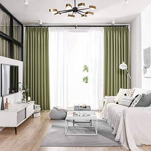 GJXY - Cortina térmica opaca de algodón y lino, aislante, antiruido, transpirable, suave, apta para dormitorio, salón, 1 unidad