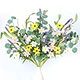 【Size and Quantity】Each stem is about 42cm/16.5in tall and there are 3pcs in each package. 【Flower Stem】Each stem has 2 yellow daisies,2 pink daisies,2 white daisies,3 lavender and some purple and pink forsythia.There are also many green leaves to ma...