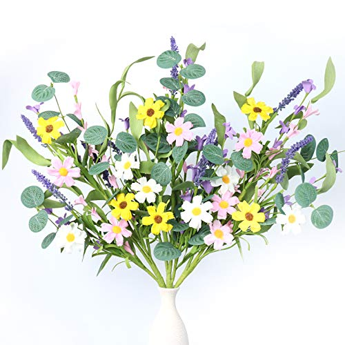 """3 Pack Flower Stems,Artificial Daisy Lavender Stems with Green Leaves Floral Picks for Vase Centerpiece Home Decor and DIY Crafts-24"""" Tall"""