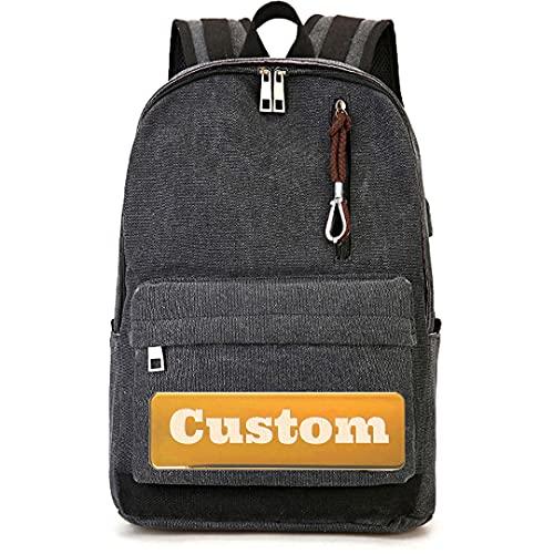 TCross Nome personalizzato Personalizzato Donne Casual Zaino Leggero Daypack Escursioni Escursionismo Leggero Durevole (Color : Black, Size : One size)