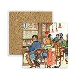 DIYthinker Miaoji Gemälde Cat Restaurant Fang Ratte Platz Coaster-Schalen-Becher-Halter Absorbent Stein für Getränke 2ST Geschenk Mehrfarbig