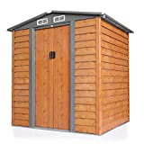 BWM.Co 5'x6' Outdoor Storage Shed Galvanized Steel Utility Tool Organizer for Garden Backyard w/Vents, Lockable Sliding Doors, Gable Roof, Brown