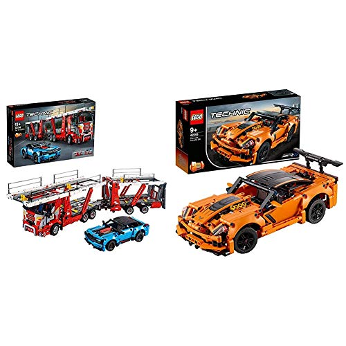LEGO 42098 Technic - Autotransporter 2 in 1 LKW und Show Cars Modell & 42093 Technic Chevrolet Corvette ZR1, bunt