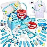 Buyger 35 Pièces Malette Déguisement de Docteur Enfant Jouet Costume Jeu d'imitation Medecin Outils Médical Cadeau pour Garçon et Fille (Bleu)