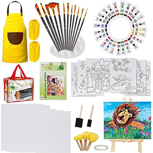 UHAPEER Kit Colori Acrilici per Dipingere per Bambini, 24x12ml Set Pittura Acrilica con Tele per Dipingere, Pennelli, Cavalletto, libro da colorare, Tavolozza, vernice e borsa da viaggio per bambini
