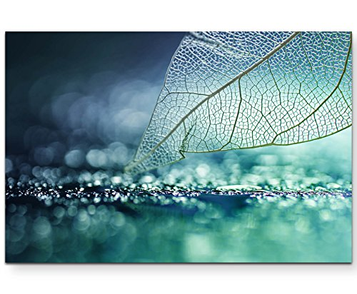 Paul Sinus Art Leinwandbilder | Bilder Leinwand 120x80cm Skelett Blatt - abstrakt
