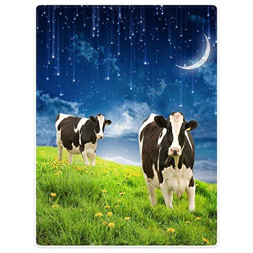 YISUMEI Decke 150x200 cmKuscheldecken Sanft Flanell Weich Fleecedecke Bettüberwurf Kühe Mond Grasland