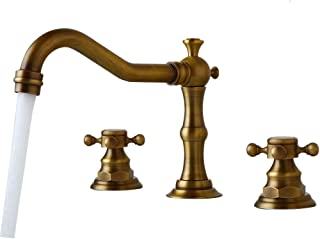 Widespread Bathroom Faucet Antique Brass Bathtub Deck Mounted 3 Pieces 3 Hole Two Handles Sink Mixer Tap OUBONI