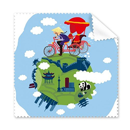 China Chinese Travel Cycle Rickshaws Temple Panda De Grote Muur Cultuur Kunst Leuke Bril Doek Schoonmaak Doek Telefoon Scherm Cleaner 5 stks