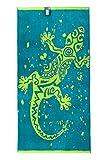 jilda-tex Toalla de playa, 90 x 180 cm, toalla de baño, toalla de playa, toalla de mano, 100% algodón, felpa, fácil de limpiar (Gecko)