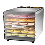 ZYFA Acero Inoxidable 6 Pisos Deshidratador de Alimentos,con 30 h Temporizador,Temperatura...