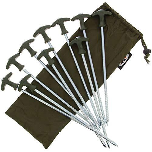 My-Fishing-World - 10 piquetas para tienda de campaña de 30,5 cm, incluye bolsa, 10 clavos Bivvy Pegs, estable con rosca fuerte, fácil de girar del suelo.
