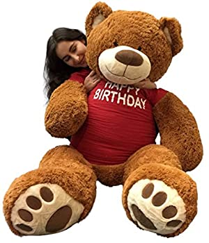 Big Plush 5 Foot Giant Teddy Bear Wearing Happy Birthday T-Shirt 60 Inches Soft Cookie Dough Brown Color Huge Teddybear