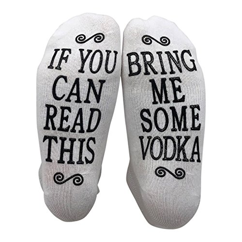 If You Can Read This Bring Me Some Vodka Gift Socks - Perfect Hostess or Housewarming Gift Idea, Birthday Present, or Mothers Day Gift for a Vodka Enthusiast