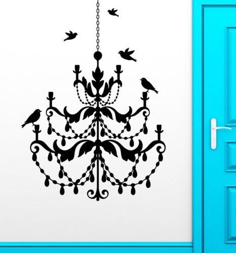 Edwiin Jackson Pegatinas de pared de vinilo extraíble Art Decor Candelabro pájaros luz fresca sala de estar vintage