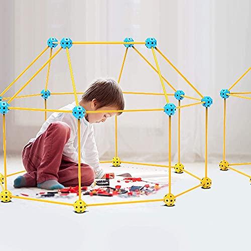 Xuebai Kits de construcción para niños y niñas, castillos de bricolaje, túneles de construcción, carpa de cohetes