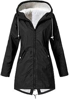 Women Solid Winter Warm Thick Outdoor Plus Size Hooded Raincoat Windproof Hoodies Outerwear Sweatshirt Coat Overcoat